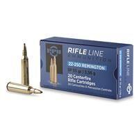 PPU, .22-250 Remington, SP, 55 Grain, 20 Rounds