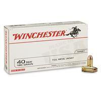 Winchester White Box, .40 S&W, FMJ, 180 Grain, 50 Rounds