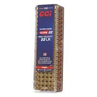 CCI Clean-22 High Velocity, .22LR, Poly-coated LRN, 40 Grain, 100 Rounds