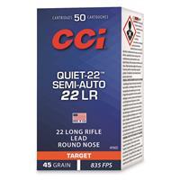 CCI Quiet-22 Semi-auto, .22LR, LRN, 45 Grain, 50 Rounds
