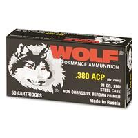 Wolf, .380 ACP, FMJ, 91 Grain, 50 Rounds