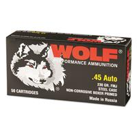 Wolf, .45 ACP, FMJ, 230 Grain, 50 Rounds