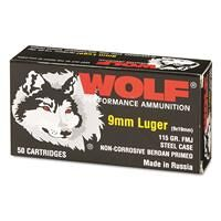 Wolf, 9mm, FMJ, 115 Grain, 50 Rounds