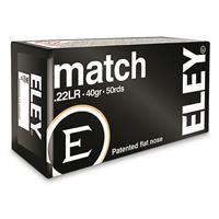 Eley Match, .22 Long Rifle, Lead Flat Nose, 40 Grain, 50 Rounds