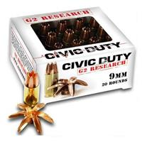 G2 Research Civic Duty, 9mm, SCHP, 100 Grain, 20 Rounds