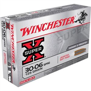 Winchester Super-X Ammo 30-06 Springfield 125gr Pointed Sp - 30-06 Springfield 125gr Pointed Soft Point 20/Box