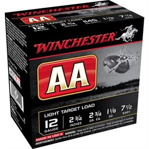 "Winchester Aa Light Target Ammo 12 Gauge 2-3/4"" 1-1/8 Oz #7.5 Shot - 12 Gauge 2-3/4"" 1-1/8 Oz #7.5 Shot 25/Box"