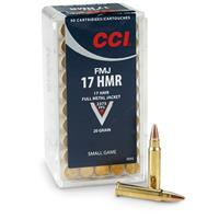 CCI, .17 HMR, FMJ, 20 Grain, 50 Rounds