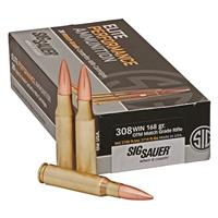 SIG SAUER Elite Match Grade, .308 Winchester, Open Tip Match, 168 Grain, 20 Rounds