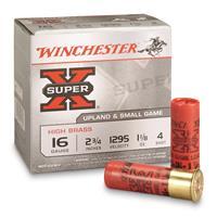 "Winchester, Super-X High Brass Game Loads, 16 Gauge, 2 3/4"" 1 1/8 ozs., 25 Rounds"