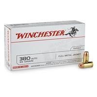 Winchester White Box, .380 ACP, FMJ, 95 Grain, 50 Rounds