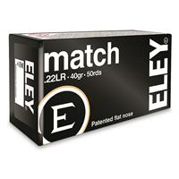 Eley Match, .22 Long Rifle, Lead Flat Nose, 40 Grain, 50 Rounds