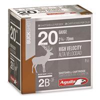 "Aguila High-Velocity Buckshot, 20 Gauge, 2 3/4"", #2 Buck, 25 Rounds"