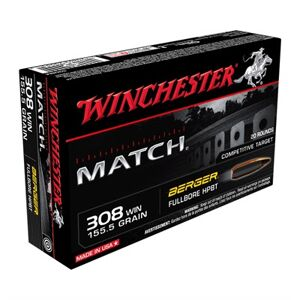 Winchester Match 308 Winchester Rifle Ammo - 308 Winchester 155.5gr Fullbore Target 20/Box