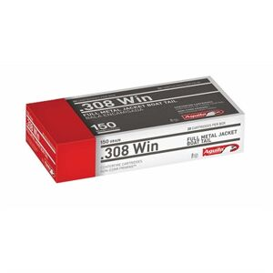 Aguila 308 Winchester 150gr Fmjbt Rifle Ammo - 308 Winchester 150gr Full Metal Jacket Boat Tail 20/Box
