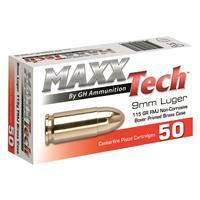 MAXXTech, 9MM, FMJ, 115 Grain, 50 Rounds