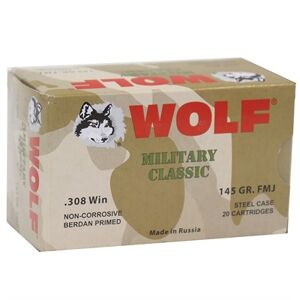 Wolf Polyformance Ammo 308 Winchester 145gr Fmj - 308 Winchester 145gr Full Metal Jacket 500/Case