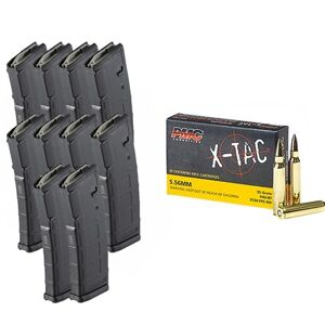 Brownells X-Tac 5.56 Nato 55gr Fmj 1000rd Case With 10x Pmags - 1000rd X-Tac 5.56 Nato 55gr Fmj With 10x 30-Round Pmags