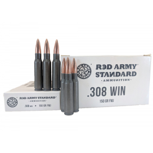 Red Army Lead Core Rifle Ammunition .308 Win 150gr FMJ 500/ct (20/ct Boxes)