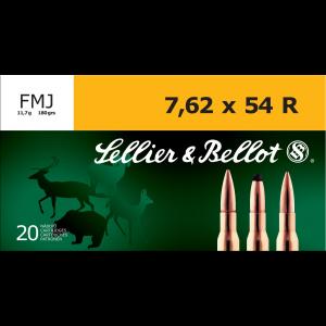 Sellier & Bellot Rifle Ammunition 7.62x54R 180 gr 2580 fps FMJ - 20/box